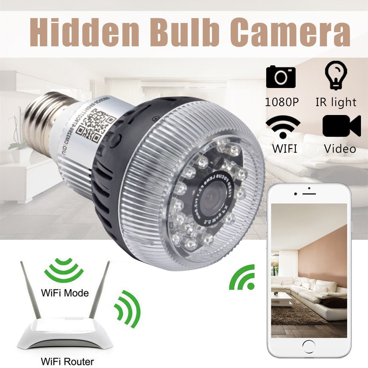 Motion detecting wifi connected light bulb cameras a bulb security camera hd 960p network dvr wifi ip motion detector e27 led light this one has linux 2 way communication explicitly mentions separate ir mozeypictures Gallery