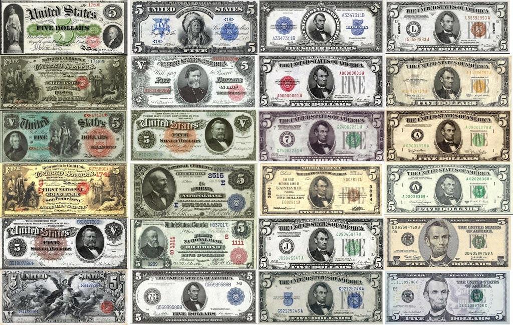history 5 dollar bill